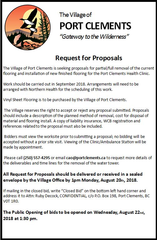 Clinic Flooring RFP – Village of Port Clements