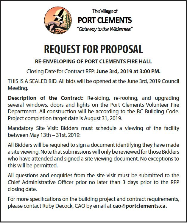 Request for Proposal – Village of Port Clements