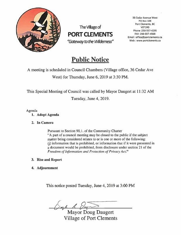 Notification for Special Meeting – Village of Port Clements
